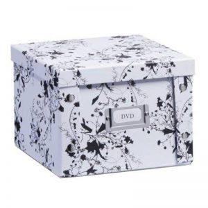 Zeller 17846 Boite de rangement en carton DVD motif floral blanc, 21,5 x 20,5 x 15 cm de la marque Zeller image 0 produit
